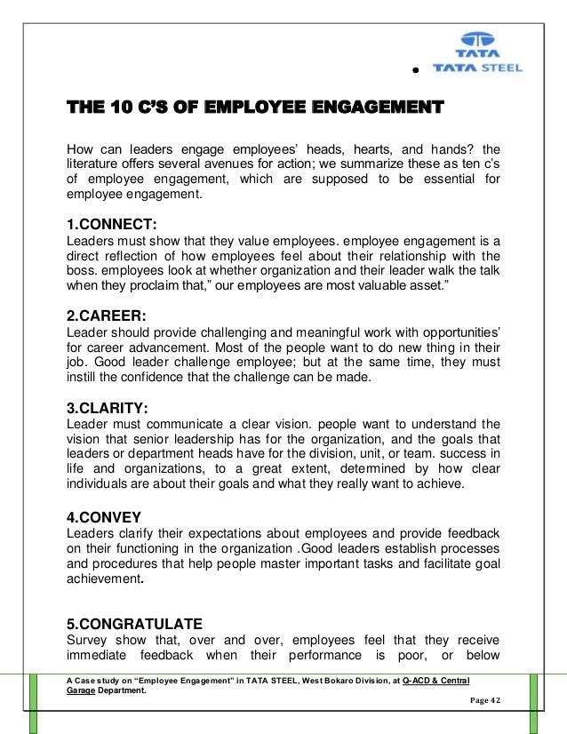 dissertation report on employee engagement Employee engagement, simply put, is the extent to which an employee's personal goals and interests align with the vision and goals of the company at which they are employed with all the disparate information, opinions, and variables surrounding it, employee engagement can be a confusing topic.