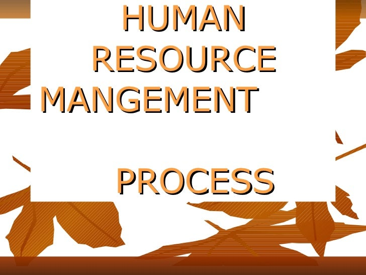 HUMAN RESOURCE MANGEMENT  PROCESS