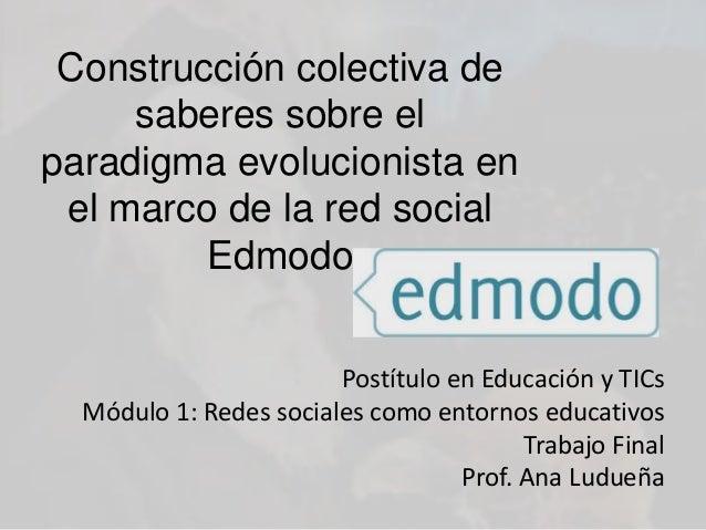 Postítulo en Educación y TICs Módulo 1: Redes sociales como entornos educativos Trabajo Final Prof. Ana Ludueña Construcci...