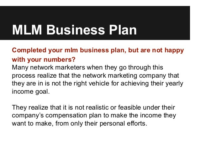 A Sample Multi Level Marketing Business Plan Template