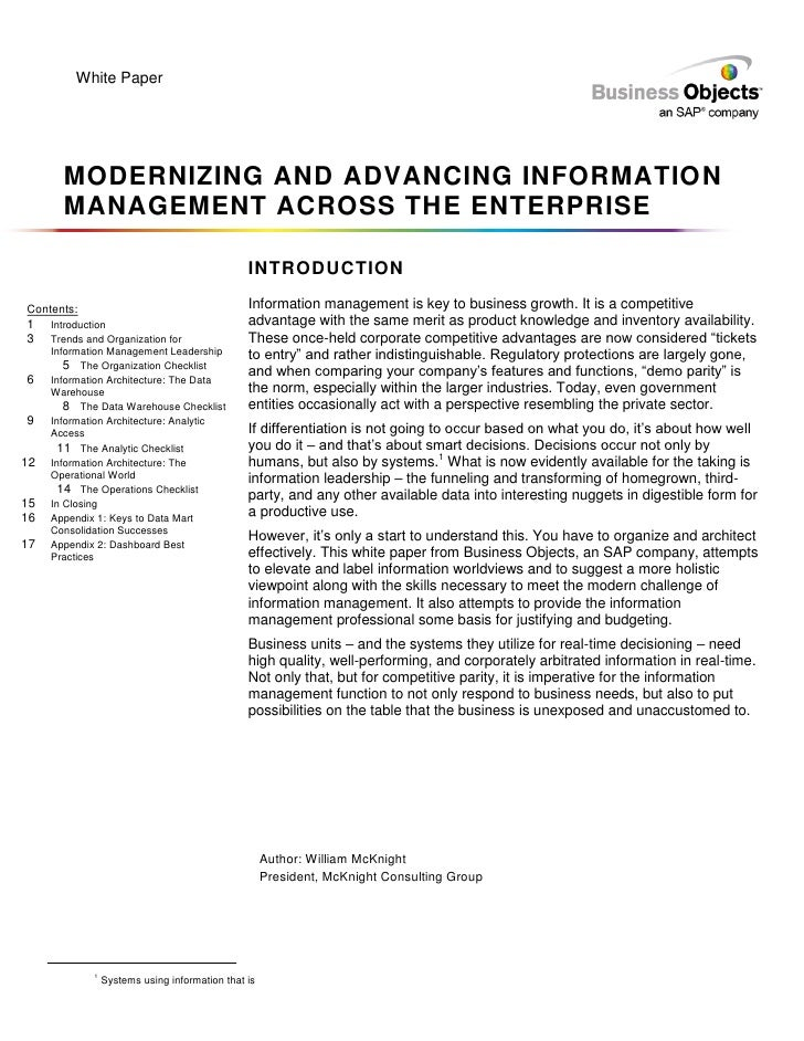 Modernizing And Advancing Info Magagement