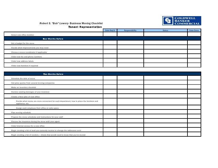 "Robert S. ""Bob"" Lowery- Business Moving Checklist                                                         Tenant Represent..."