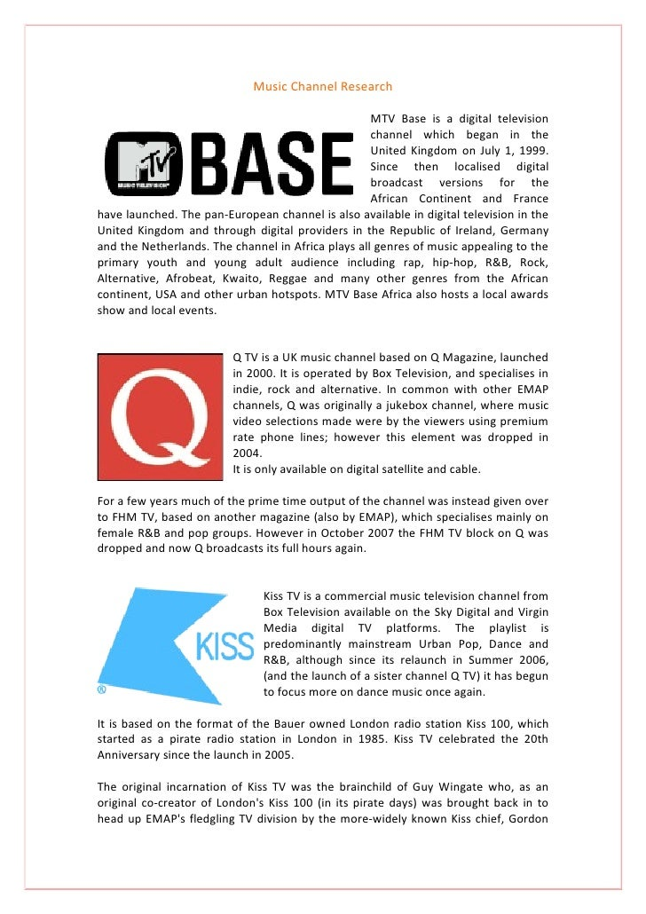 Music Channel Research                                                      MTV Base is a digital television              ...