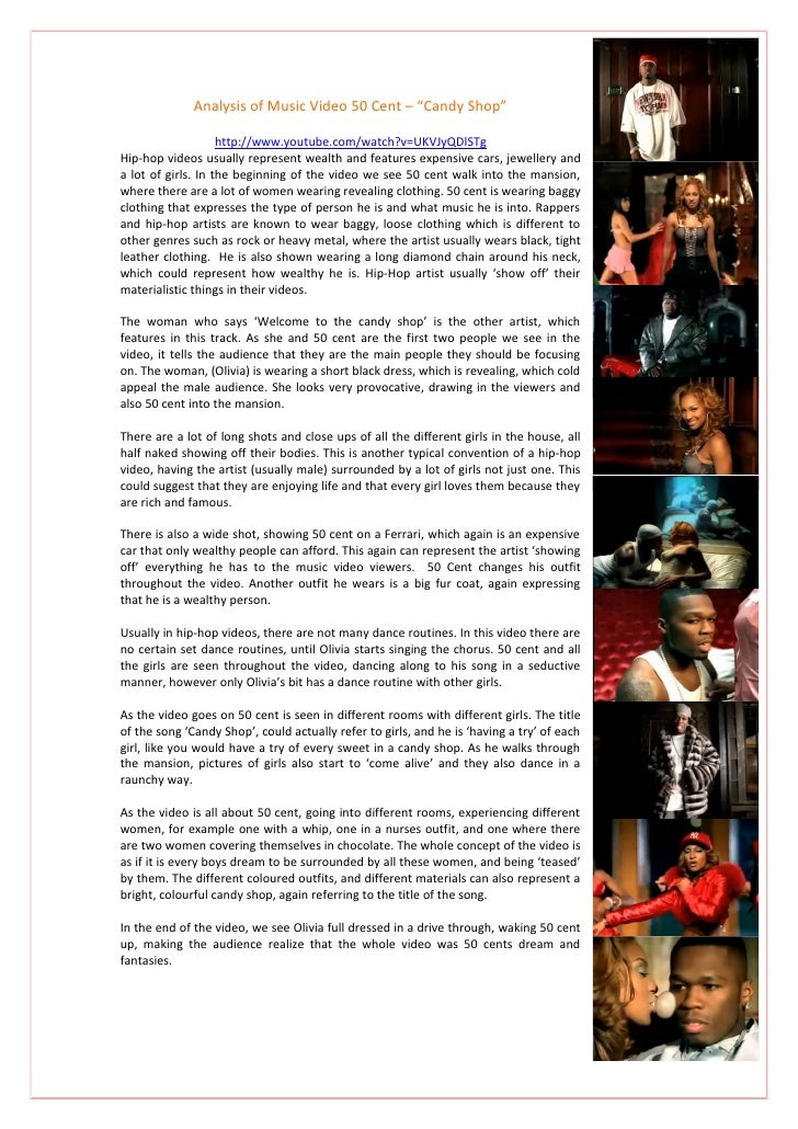 "Analysis of Music Video 50 Cent – ""Candy Shop""                      http://www.youtube.com/watch?v=UKVJyQDlSTg Hip-hop vid..."