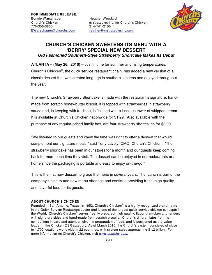 Church's chicken SWEETENS ITS MENU WITH A <br />'berry' special NEW DESSERT<br />Old Fashioned Southern-Style Strawberry S...