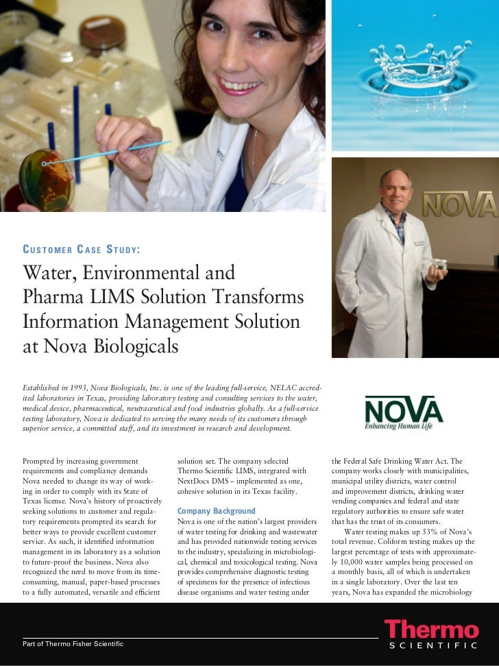 Customer Case Study:Water, Environmental andPharma LIMS Solution TransformsInformation Management Solutionat Nova Biologic...