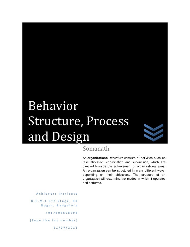 BehaviorStructure, Processand Design                        Somanath                        An organizational structure co...