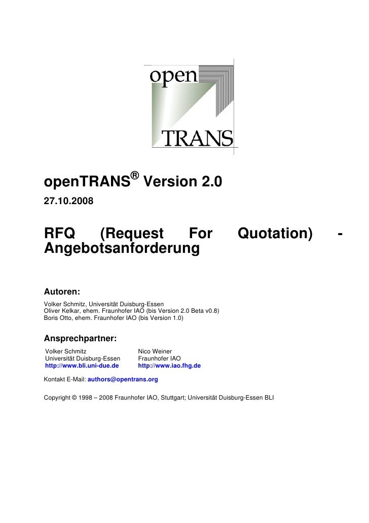 openTRANS® Version 2.0 27.10.2008   RFQ   (Request    For                                               Quotation)      - ...