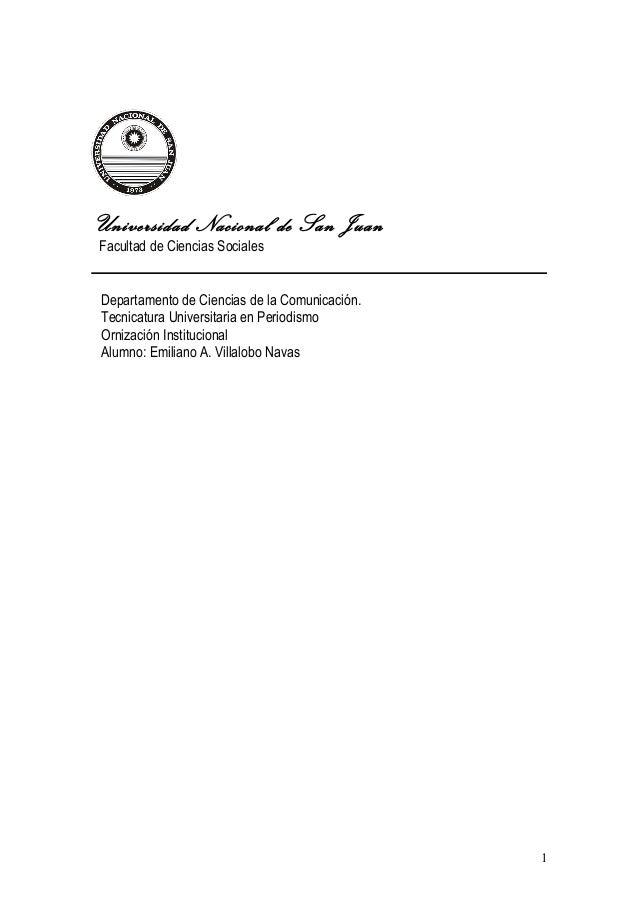 Universidad Nacional de San Juan Facultad de Ciencias Sociales Departamento de Ciencias de la Comunicación. Tecnicatura Un...