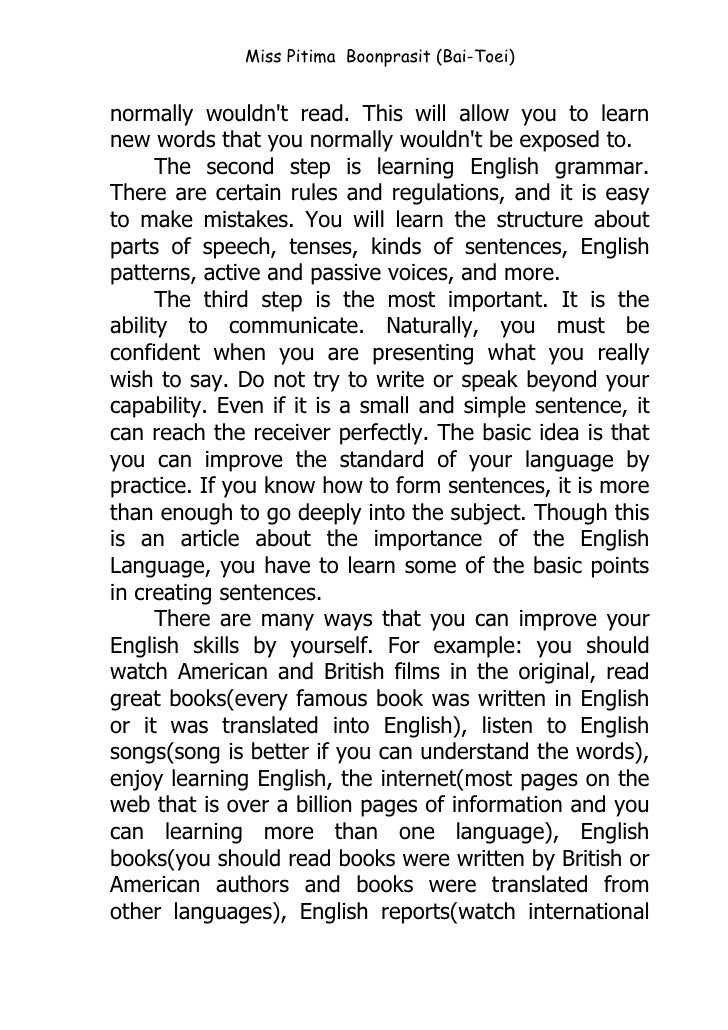 "essay on importance of english education in india The importance of education to my life essay - according to the dictionary an education is ""the act or process of imparting or acquiring general knowledge, developing the powers of reasoning and judgment, and generally of preparing oneself or others intellectually for mature life."