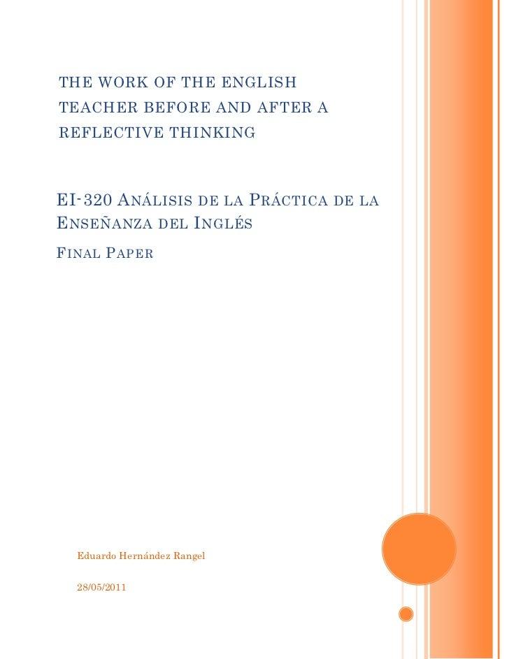 teaching reflection essay