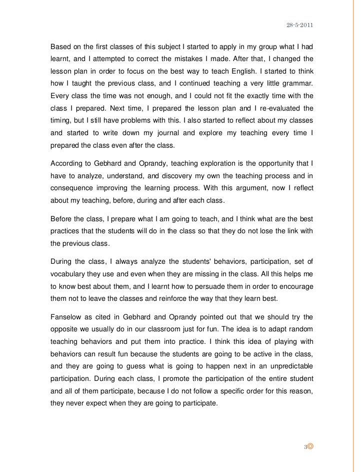 teacher reflection essay
