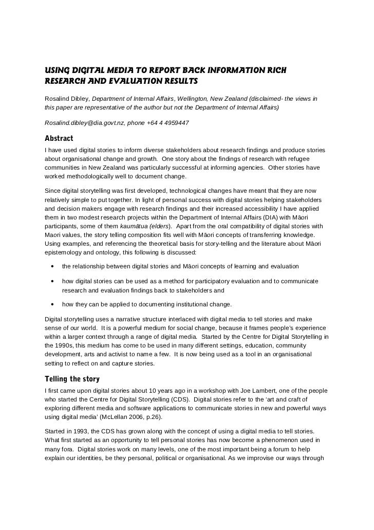 USING DIGITAL MEDIA TO REPORT BACK INFORMATION RICHRESEARCH AND EVALUATION RESULTSRosalind Dibley, Department of Internal ...