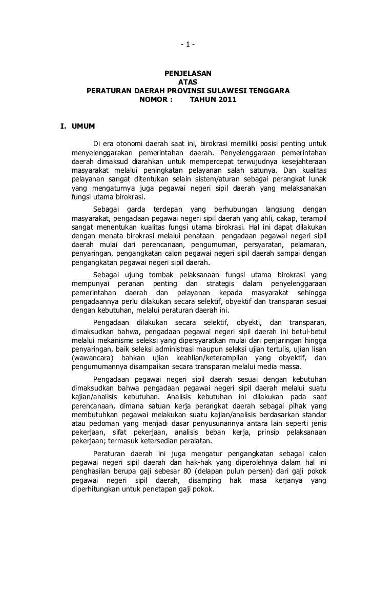 -1-                      PENJELASAN                         ATAS      PERATURAN DAERAH PROVINSI SULAWESI TENGGARA         ...