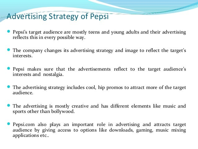 goals and objectives of pepsi company