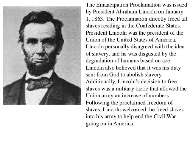emancipation proclamation slavery essay Abraham lincoln and the emancipation proclamation summary this presidents and the constitution e-lesson focuses on abraham lincoln and the emancipation proclamation.
