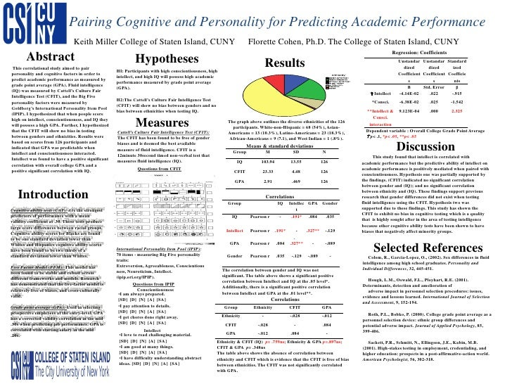Cognitive and Personality Factors Predict Academic Performance, Keith Miller