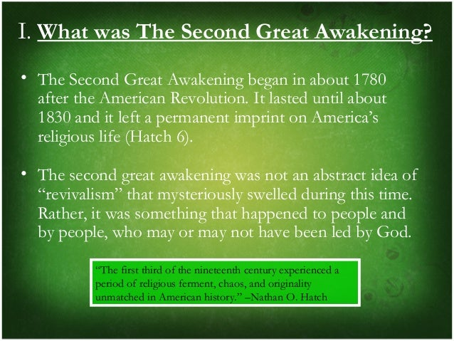 the first and second great awakening The second great awakening was a religious revival that spread across the united states from 1790s to 1830s first, it provided the.