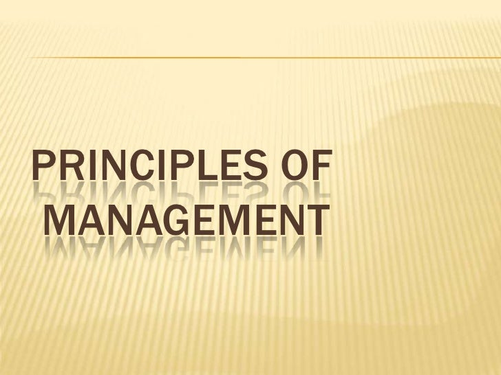 PRINCIPLES OF MANAGEMENT<br />