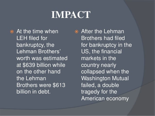 reasons behind lehman brothers bankruptcy On sept 15, 2008, lehman brothers, the fourth largest investment bank in the world, declared bankruptcy -- sparking chaos in the financial markets and nearly bringing down the global economy.