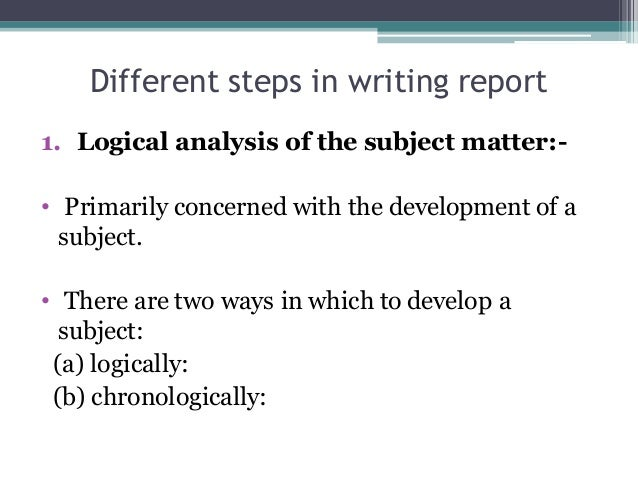 Steps in report writing in research