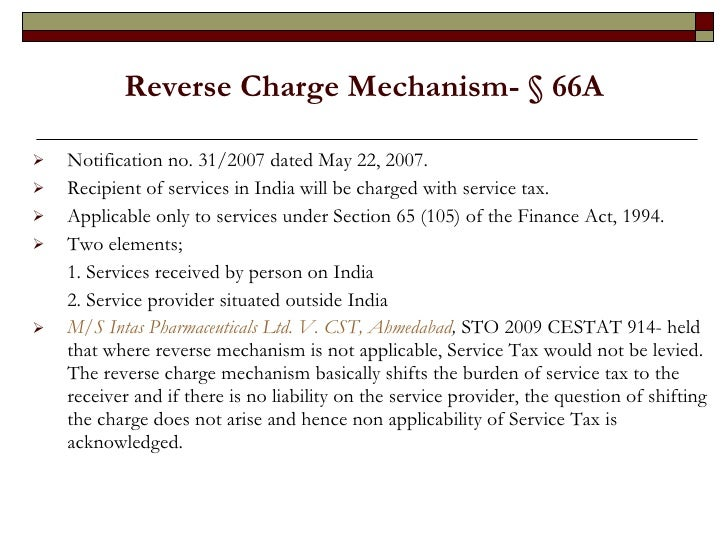 Service Tax Reverse Charge Mechanism In India