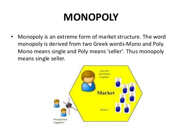 monopoly market structure Consistent comparisons between monopoly and perfect competition susan e skeath, ann d velenchik  with the outcomes of competitive market structures.