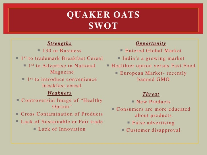 united cereal swot The rte cereal industry in 1994 case analysis competitive strategy presented by: raghav keshav why has rte cereal been such a profitable business the rte cereal market is a classic oligopoly with the four dominant players controlling 85% of the market.