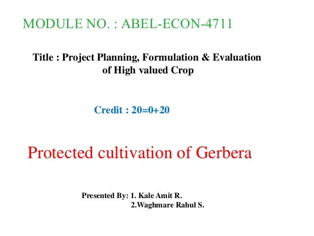 MODULE NO. : ABEL-ECON-4711 Title : Project Planning, Formulation & Evaluation of High valued Crop Protected cultivation o...