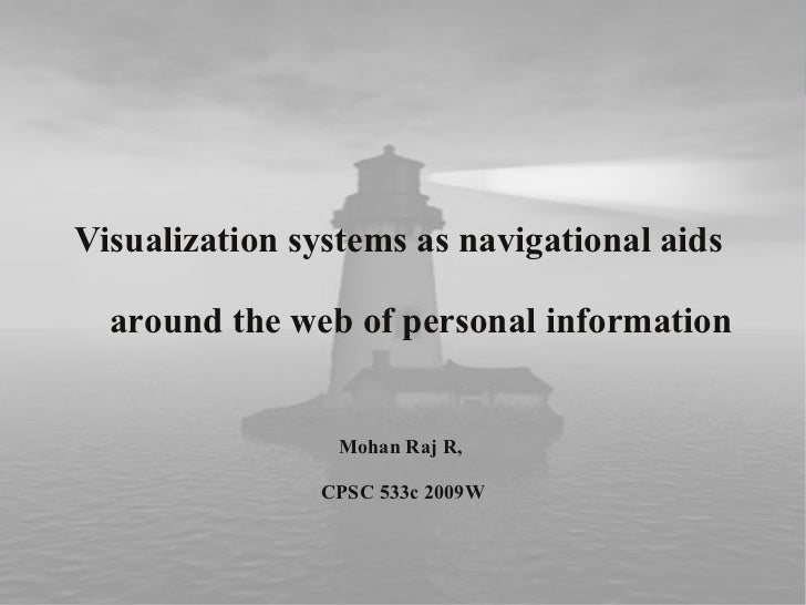 Visualization systems as navigational aids  around the web of personal information                 Mohan Raj R,           ...