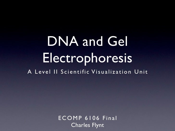 DNA and Gel         Electrophoresis A L e ve l I I S c i e n t i f i c V i s u a l i z a t i o n U n i t                  ...