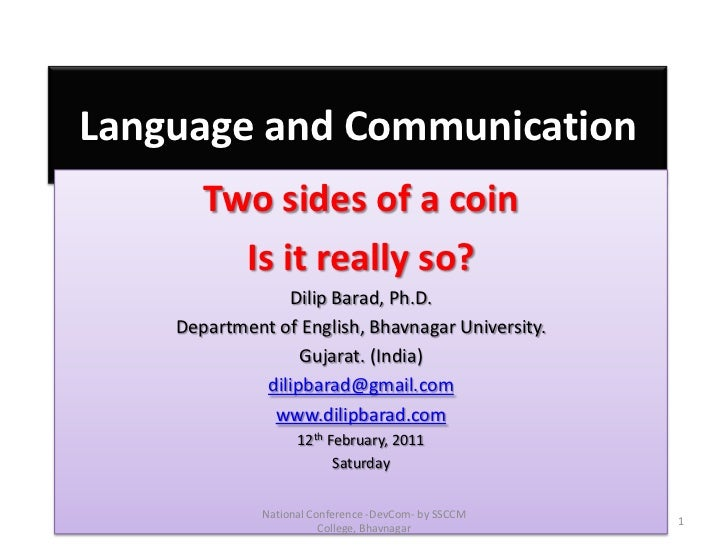 Language and Communication: Two Sides of a Coin