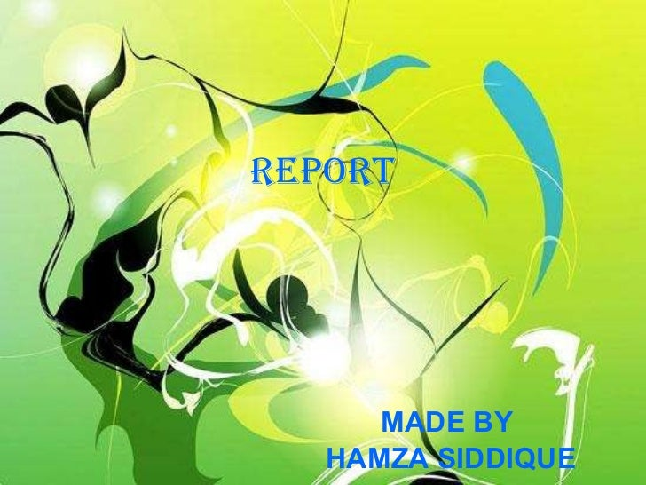 REPORT MADE BY HAMZA SIDDIQUE