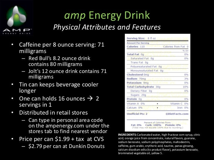 Amp Nutrition Label Amp Energy Drink Physical