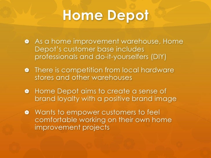 the strategic plan for the home depot to include the following A strong market orientation is the result of the following: continuous market intelligence and its integration in organizational strategic planning, cross-functional efforts to address customer needs, quick response to changing external factors, and a longer term perspective in strategic planning (kohli and jaworski 1990, narver and slater 1990, slater and narver 1994.