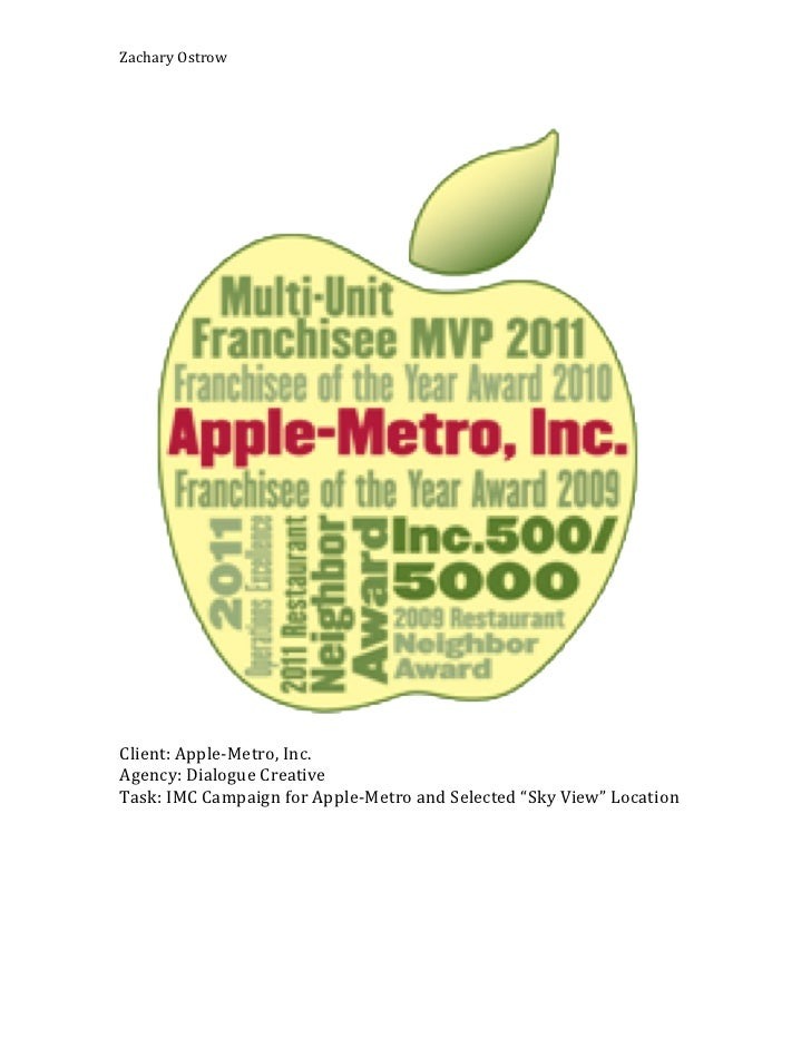ZacharyOstrow                                                                  Client:Apple5Metro,Inc.Agency:DialogueCreat...