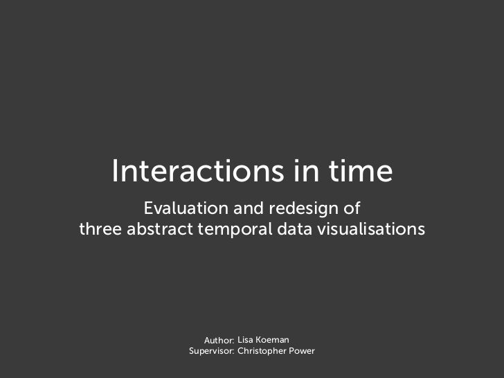 Interactions in time; Evaluation and redesign of three abstract temporal data visualisations