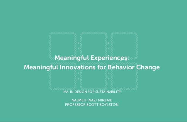 Meaningful Experiences: Meaningful Innovations for Behavior Change  MA in Design for Sustainability  Najmeh (Naz) Mirzaie ...