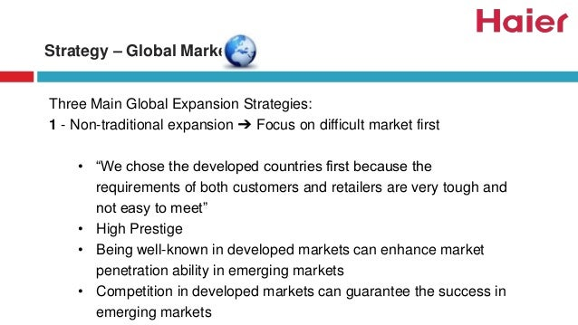 haier global strategy