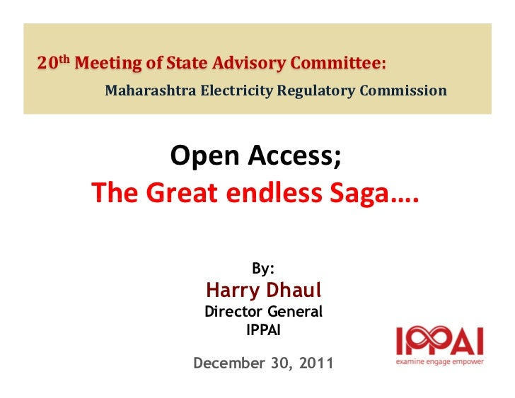 20th Meeting of State Advisory Committee:       Maharashtra Electricity Regulatory Commission           Open Access;      ...