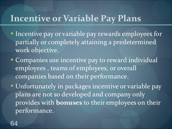 "rewarding individual employees through variable pay Compensation and benefits (abbreviated ""c&b"") is a sub-discipline of human  resources, focused on employee compensation and benefits policy-making  while compensation and benefits are tangible, there are intangible rewards   variable pay – a non-fixed monetary (cash) reward paid by an employer to an  employee."