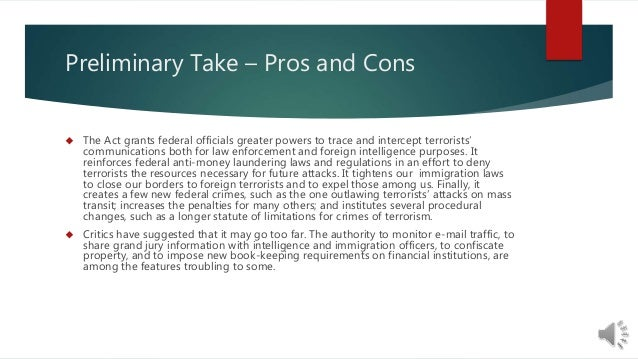 pros cons patriot act