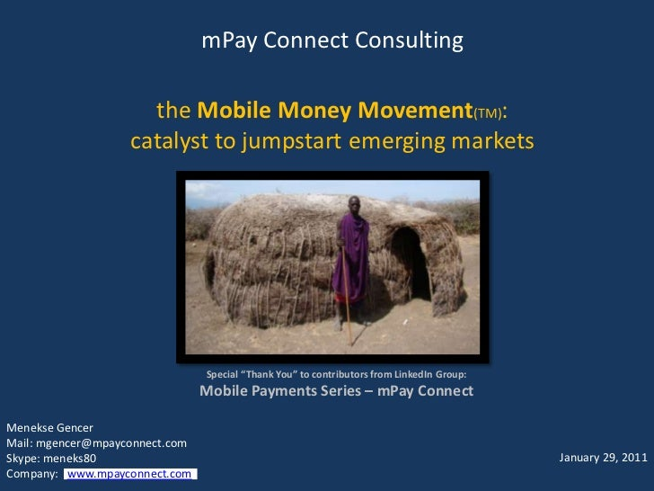 """mPay Connect Consultingthe Mobile Money Movement(TM):  catalyst to jumpstart emerging markets<br />Special """"Thank You"""" to ..."""