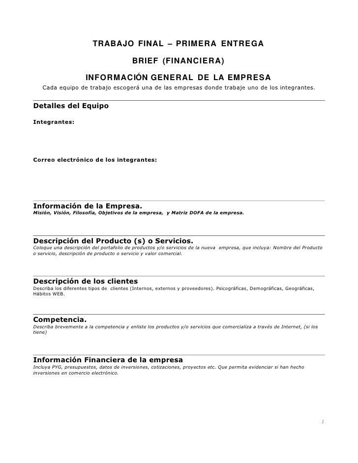 TRABAJO FINAL – PRIMERA ENTREGA                                            BRIEF (FINANCIERA)                        INFOR...