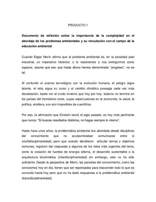 PRODUCTO 1 Documento de reflexión sobre la importancia de la complejidad en el abordaje de los problemas ambientales y su ...