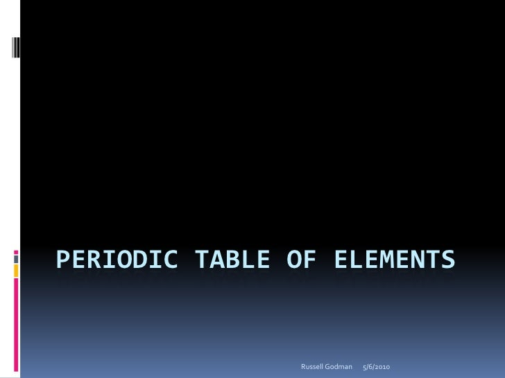 Periodic table of elements<br />5/6/2010<br />Russell Godman<br />