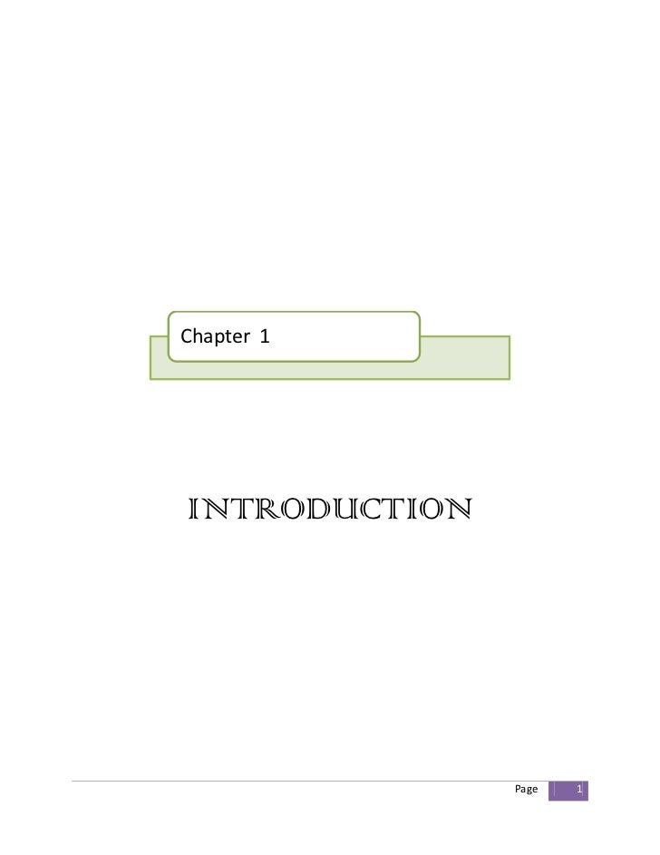 Chapter 1INTRODUCTION               Page   1