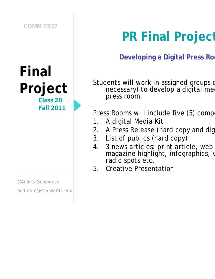 COMM 2337                                 PR Final Project                                Developing a Digital Press RoomF...