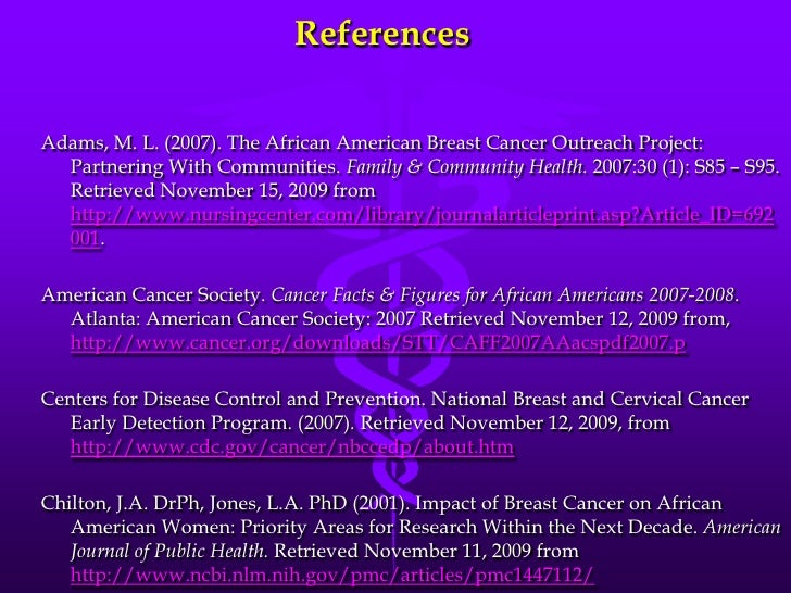 breast cancer in african american women New american college of radiology (acr) and society of breast imaging (sbi) breast cancer screening guidelines are the first to recognize that african-american women are at high-risk for the disease and should be screened as such.