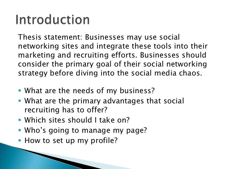 Thesis statement regarding social media